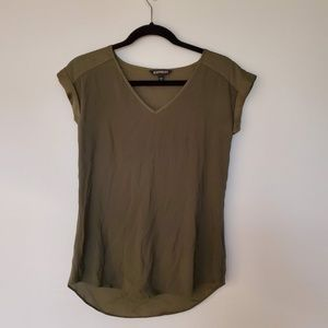 2/$20 express V-neck olive green tee top blouse